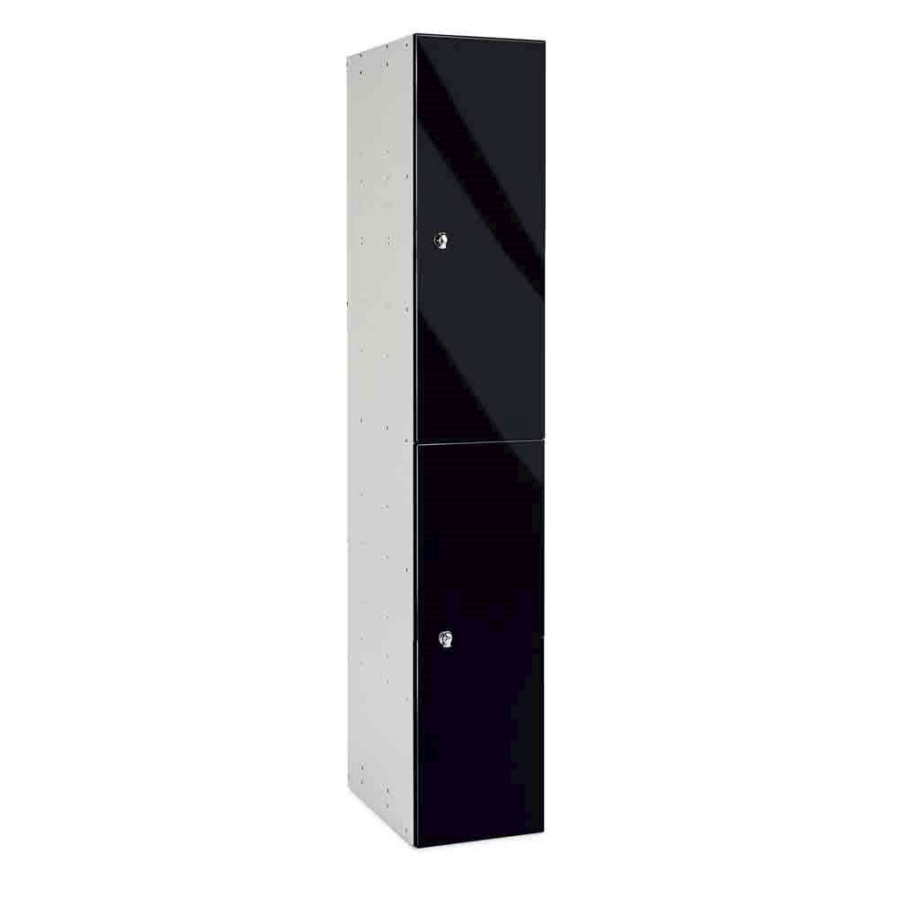 Black Gloss Two Door Office Locker 1800H