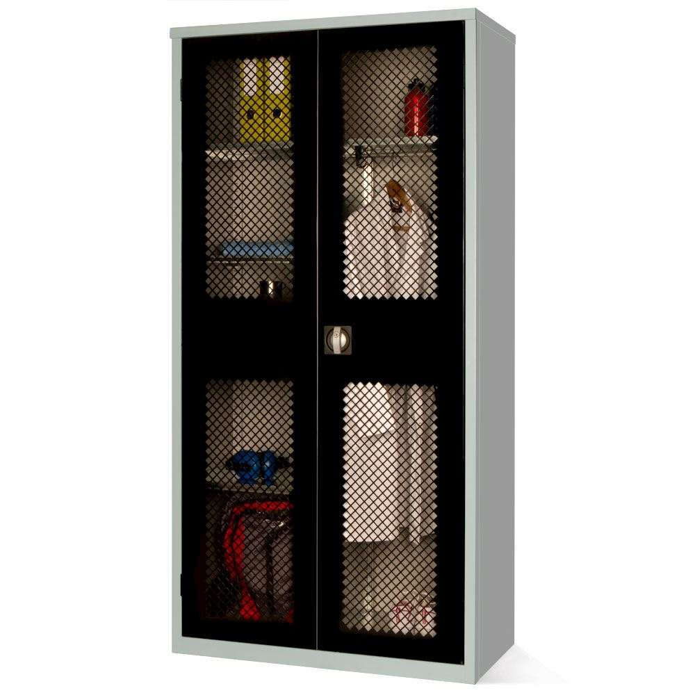 Mesh Fronted Stock Control Cupboard 1830H with 4 shelves and hanging rail