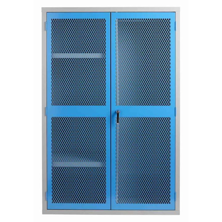 PPE Cabinet with Mesh Door, Rail & Shelves 1830H x 1220W x 459D