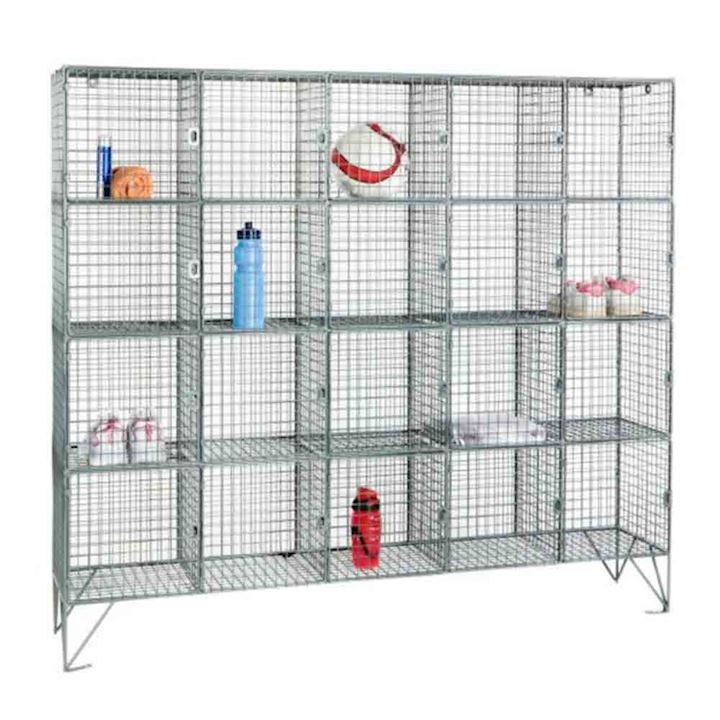 Wire Mesh Locker 20 Compartments - With or Without Doors