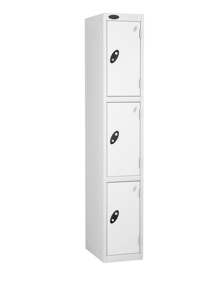 Probe White Three Door Metal Locker