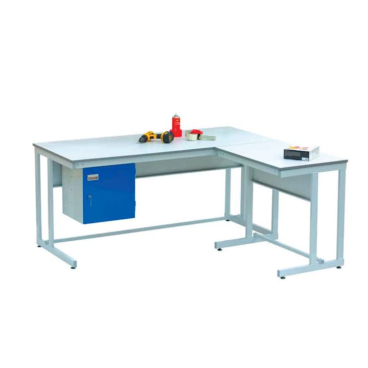 Cantilever workbench with Extension and cupboard