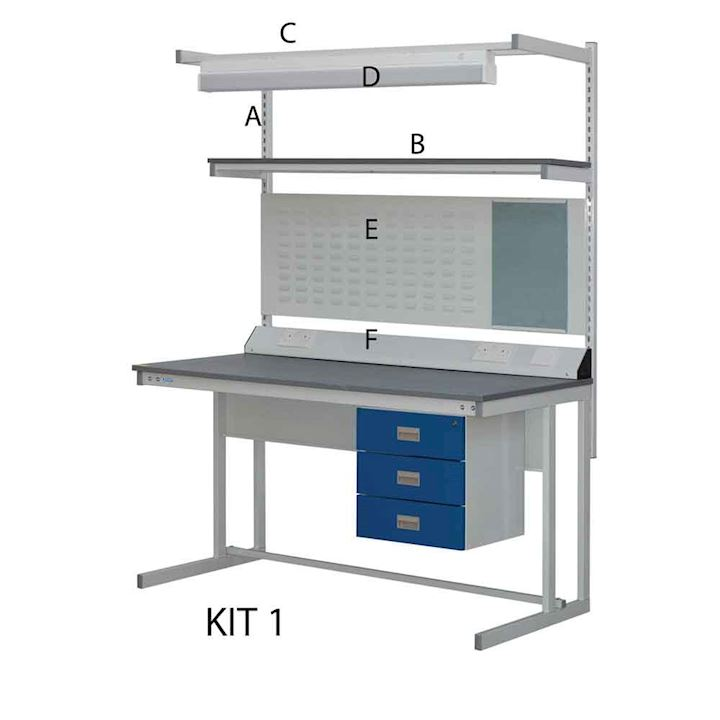 Cantilever Workbench Kit 1 with Triple Drawer Unit