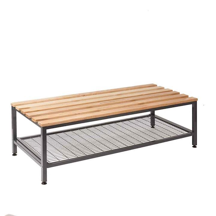 Oak Double Depth Bench Seat with Mesh Tray 1500W