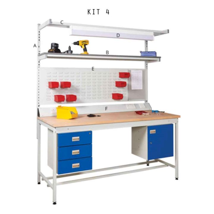 Assembly Square Tube Work Bench - Beech Worktop - Kit 4