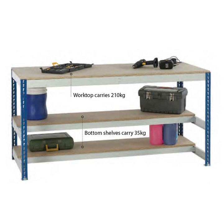 Budget Tap together workbench 210 kg with 2 half lower shelves